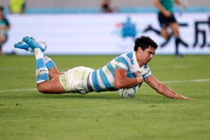 Argentina's Matias Moroni scores their first try.