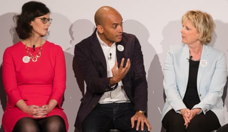 MPs Layla Moran (Lib Dem), Chuka Umunna (Labour) and Anna Soubry (Conservative) at the launch of the People's Vote in London, UK, on 15th April 2018.