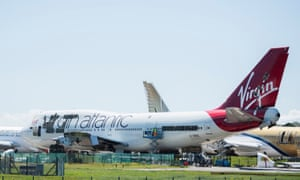A Virgin Atlantic Boeing 747-400 is dismantled to be scrapped at St Athan, Wales.