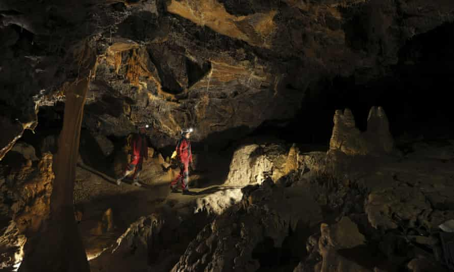 Members of the team inside the cave