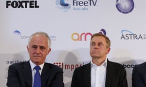 Prime Minister Malcolm Turnbull, right, and Foxtel CEO Peter Tonagh.
