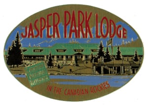 """Jasper Park Lodge: Located in Alberta's Rocky Mountains, the Jasper Park Lodge is a 700 acre year-round luxury mountain resort and the most upmarket log cabin you could ever want. It started life in 1915 as a """"tent city"""" for tourists and was acquired by Canadian National Railways. The luxury tents eventually made way for luxury log cabins. Visitors have ranged from Bing Crosby to Queen Elizabeth. This label was issued in the 1930s."""