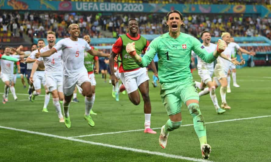 Switzerland's Yann Sommer celebrates after saving a penalty from France's Kylian Mbappe