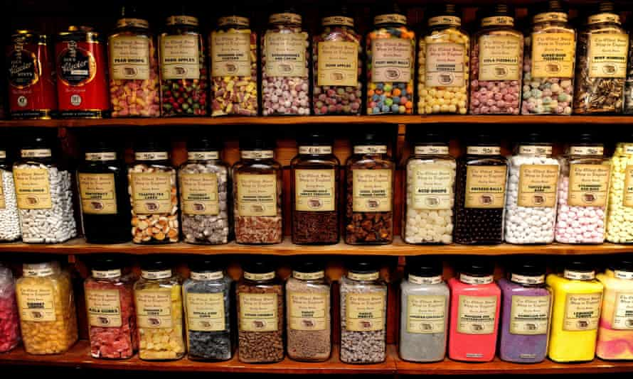 Jars of sweets are seen in the Oldest Sweet Shop in the World, in Pateley Bridge