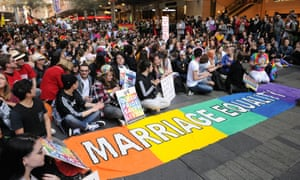 Marriage equality supporters rally in Sydney.