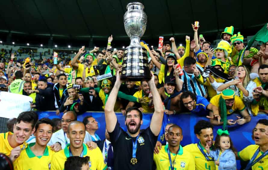 Alisson, here celebrating Brazil's Copa América win, spent more time on the pitch than any other Premier League player.