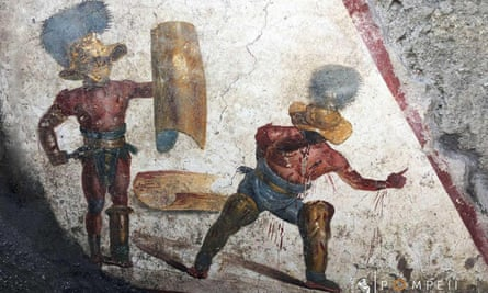 A detail from the fresco of two gladiators fighting that was found at a site north of Pompeii's archaeological park.