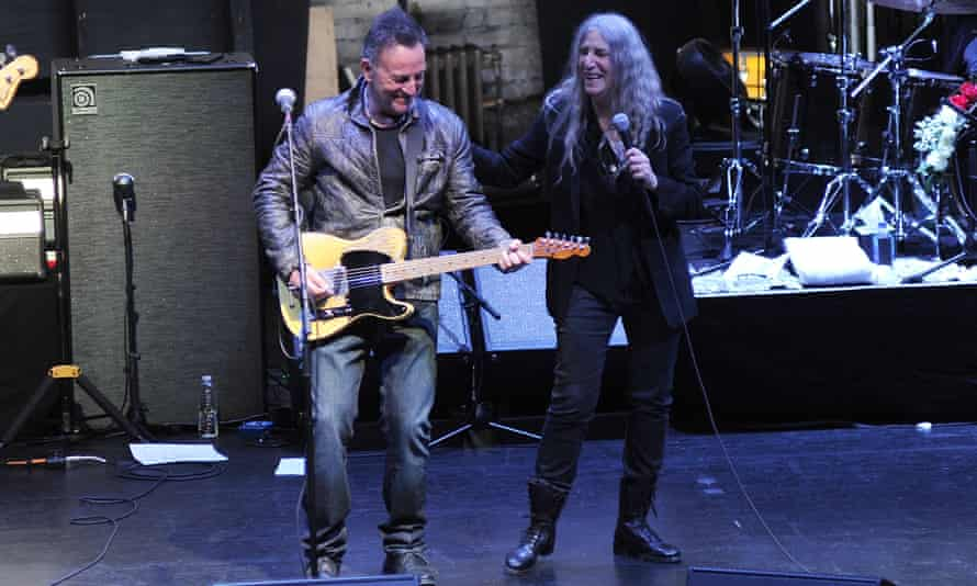 Bruce Springsteen and Patti Smith perform after a screening of Horses: Patti Smith and Her Band at the Beacon Theatre on 23 April.