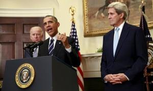 John Kerry with Joe Biden and Barack Obama at the White House in Washington DC, on 6 November 2016.