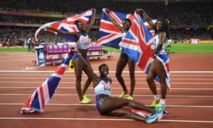 Asha Philip, Desirèe Henry, Dina Asher-Smith and Daryll Neita of Great Britain celebrate winning silver in the women's 4x100m at the World Athletics Championships