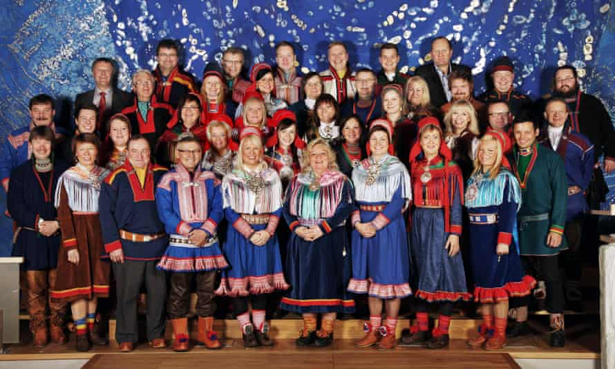 Representatives of the Sami Parliament in Norway for the period 2013-2017. President Vibeke Larsen stands in the center of the front row.
