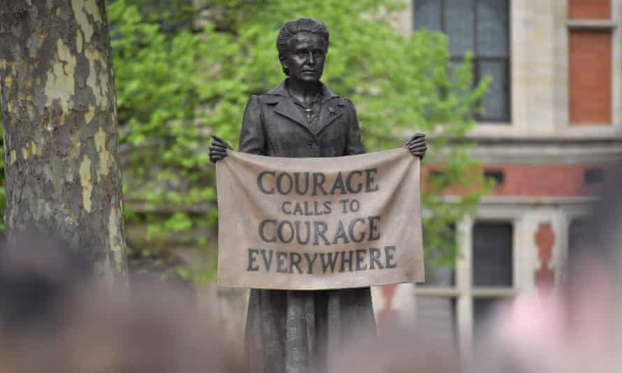 A statue of suffragist and women's rights campaigner Millicent Fawcett by British artist Gillian Wearing in Parliament square.