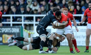 Saracens' Billy Vunipola is tackled by Mark Wilson and Will Welch at Kingston Park, Newcastle in May.