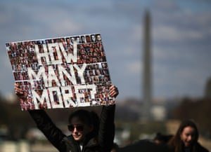 Others brandished elaborate signs, such as the one by this student at a rally in Washington DC. The question 'How many more?' was set on a backdrop of hundreds of student pictures. In the first seven weeks of 2018, there were eight shootings at US schools that resulted in injury or death