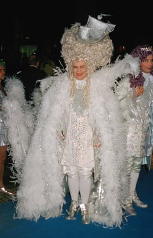 Elton John channelling Louis XIV, at his 50th birthday party, 1997.