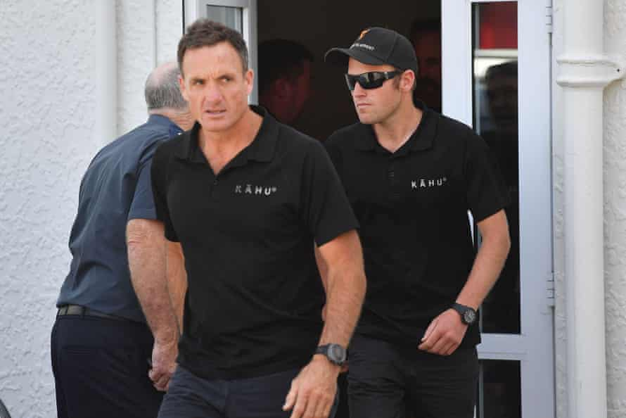 Helicopter pilots Mark Law (left) and Tom Storey,  leaving a meeting with New Zealand's prime minister Jacinda Ardern in Whakatāne on Tuesday.