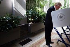 Donald Trump votes (presumably for himself).