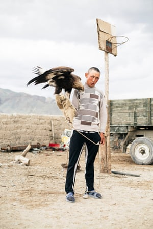 A man with his eagle