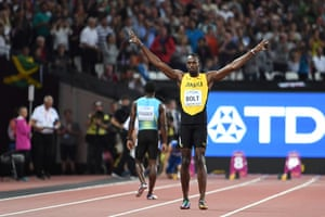 Jamaica's Usain Bolt is applauded by the crowd before his heat.