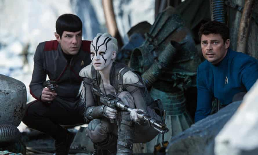Issues ... from left: Zachary Quinto as Spock, Sofia Boutella as Jaylah, and Karl Urban as Bones McCoy in Star Trek Beyond