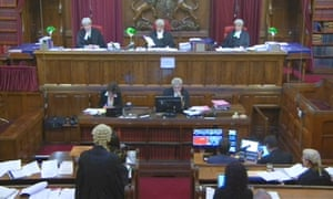 A still taken from footage of the first filming of a court case in England and Wales in 2013.