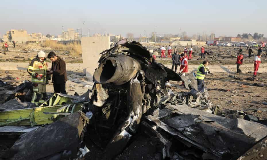 Debris from the scene of the crash near Tehran.