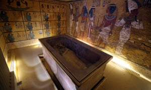 Interior view of King Tutankhamun's burial chamber in the Valley of the Kings, Luxor, Egypt.