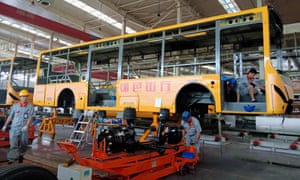 An electric bus production line at a factory in Liaocheng in China's eastern Shandong province.