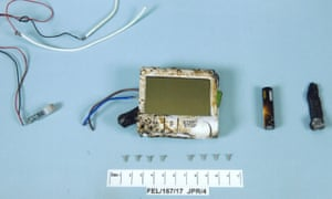 Device components recovered from the explosive device left by Ahmed Hassan on a tube train.