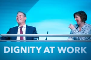 The Labour leader, Sir Keir Starmer, and the TUC general secretary, Frances O'Grady, enjoy a joke at the TUC congress in London