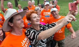 One Nation supporters  with Pauline Hanson in Hervey Bay