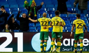 Teemu Pukki celebrates his second, and Norwich's third, of the afternoon at Hillsborough.