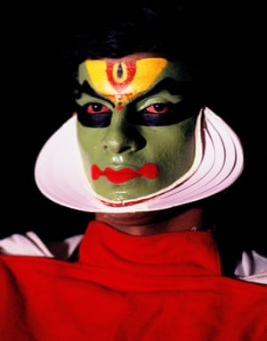 The made up face of a Kathakali actor