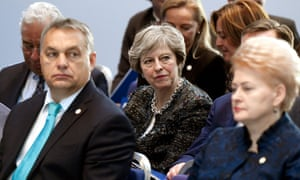 Theresa May (centre) sits behind the Hungarian PM, Viktor Orbán, and the Lithuanian president, Dalia Grybauskaitė, in Gothenburg