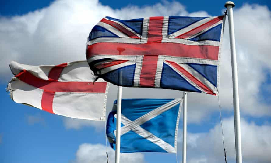 The flags of England, Scotland and the union jack.