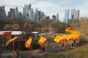 2005, New York. Park goers walk through Christo and Jeanne-Claude's art installation The Gates at Central Park.