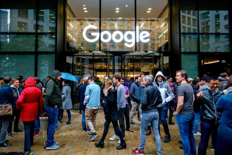 Google staff stage a walkout at the company's UK headquarters in London.