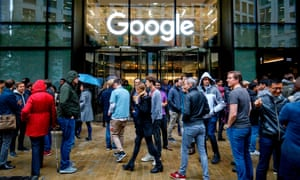Google workers stage a walkout at the company's UK headquarters in London. The company has previously come under fire for its handling of sexual harassment.