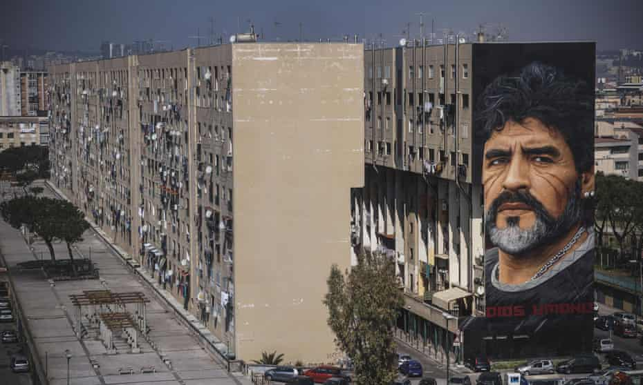 A huge mural of Maradona by Italian artist Jorit Agoch in the San Giovanni a Teduccio suburb of Naples.
