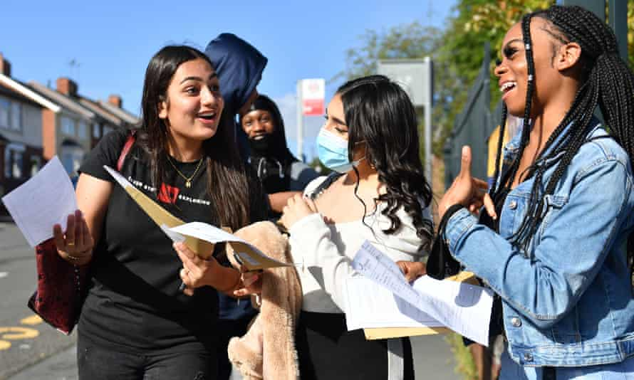 Students receive A-level results.