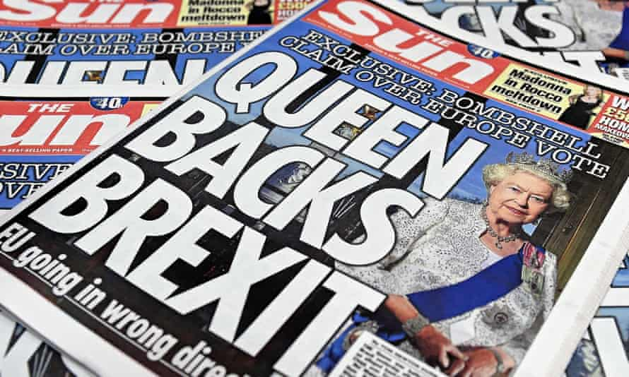 A Sun front page. It remains the biggest-selling print newspaper in the UK but is on track to lose that title to the Daily Mail