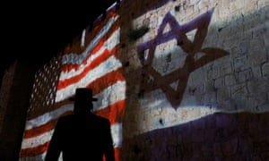 The US and Israeli flags are projected on the walls of Jerusalem's Old City in May.