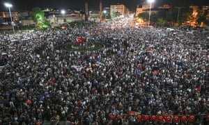 A large crowd gathers in Sivas to protest against the attempted coup.