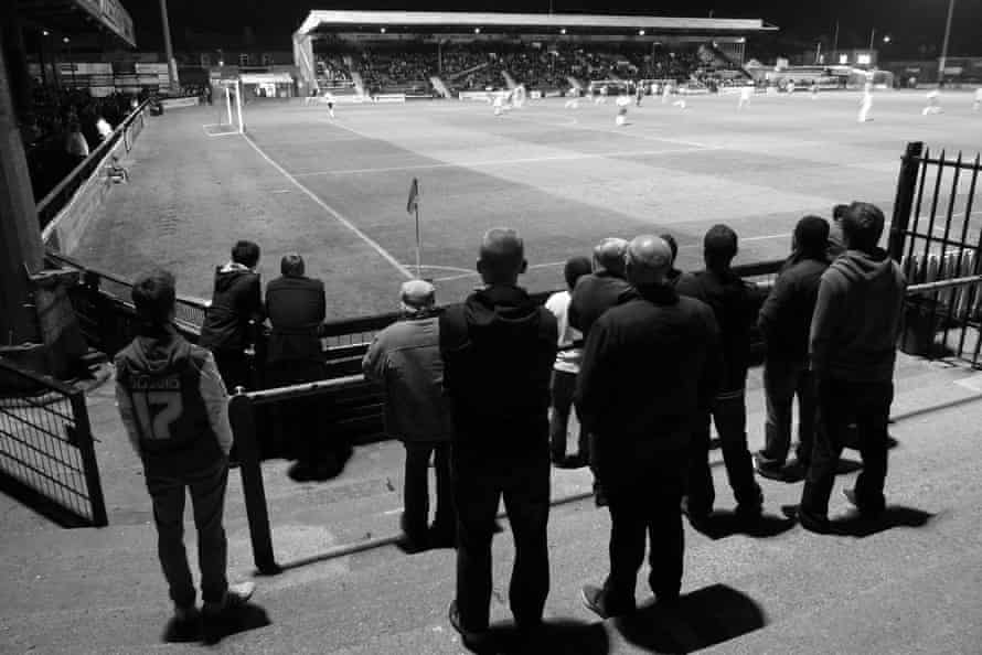 A view across the pitch to the main stand