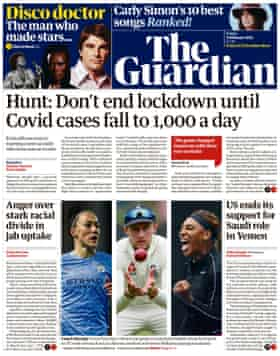 Guardian front page, Friday 5 February 2021
