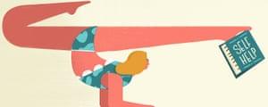 woman balancing with self help book illustration