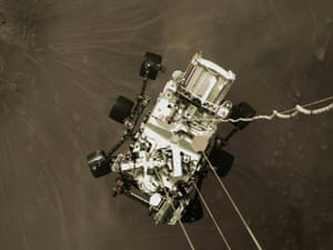 The Perseverance rover as it touched down in the area known as Jezero crater