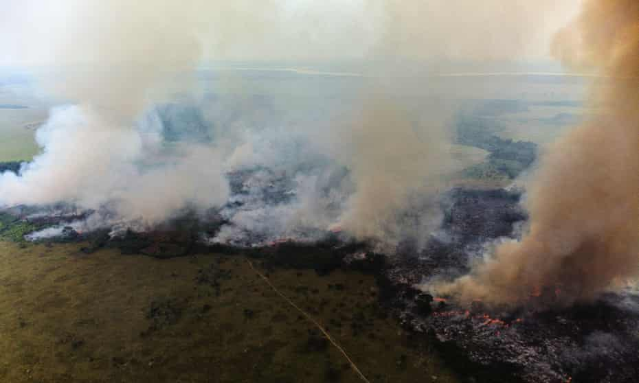 Bush fires, started by farmers, in the Democratic Republic of the Congo.