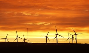 Dunlaw wind farm in the Scottish Borders against a sunset