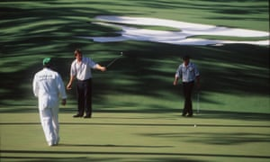 US Masters14 Apr 1996: Nick Faldo of England reacts to his putt as Greg Norman of Australia looks on at the 10th green during the final round of the 1996 US Masters Championships at the Augusta National Golf Club, Augusta, Georgia. Mandatory Credit: David Cannon/ALLSPORT